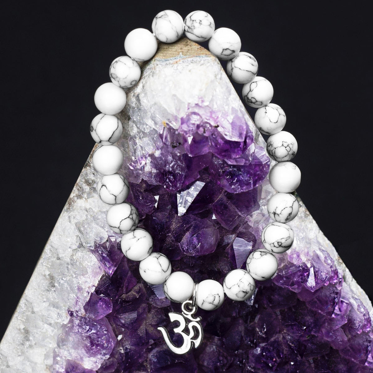 White Howlite Marble Beads with Om Charm