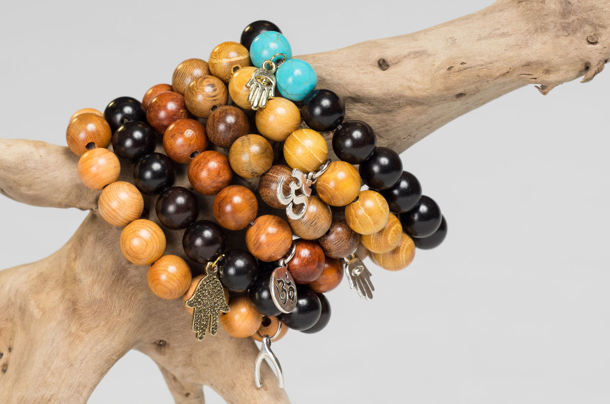 Wooden and Turquoise Beads with Hamsa Hand, Om, and Wishbone Charms