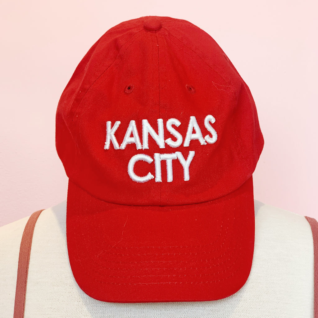 Kansas City White Ball Cap - Red