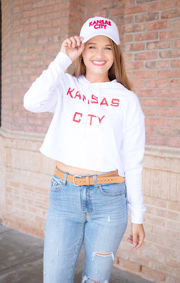 Kansas City Block Cropped Hoodie White