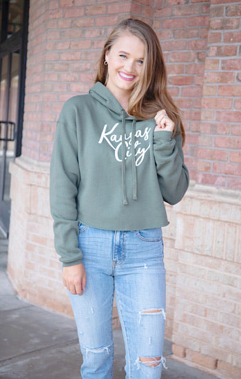 Kansas City Cursive Cropped Hoodie Hunter