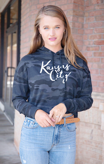 Kansas City Cursive Cropped Hoodie Black Camo