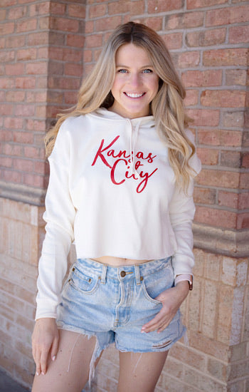 Kansas City Cursive Cropped Hoodie Cream