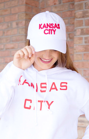 Kansas City Ball Cap White with Red font
