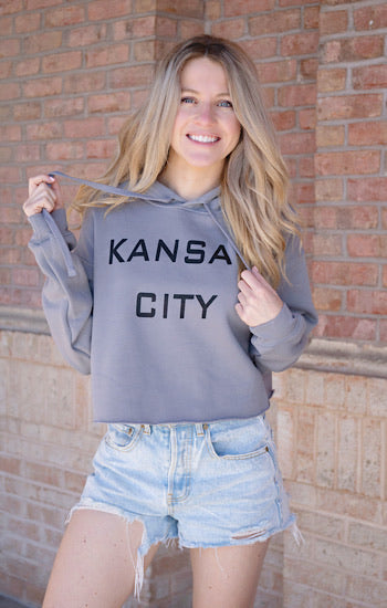Kansas City Block Cropped Hoodie Heather Grey