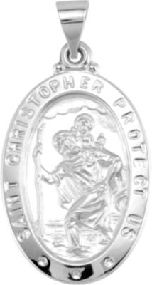 14K White Gold 25.5x17.75mm Oval St. Christopher Hollow Medal