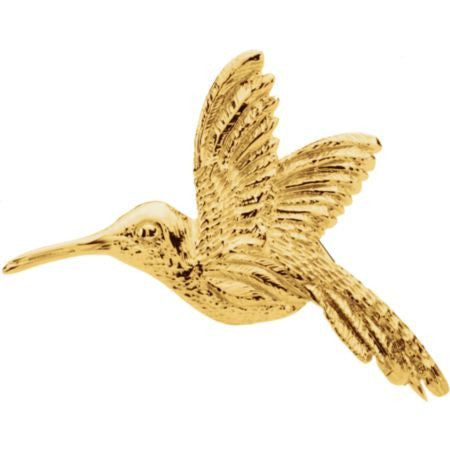 14K Solid Gold Hummingbird Brooch (27x25mm)