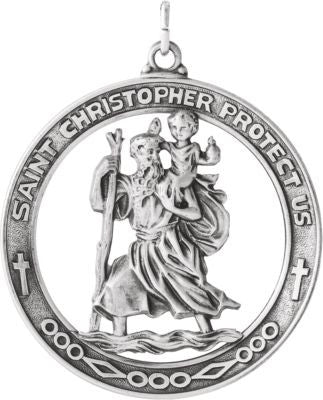 Sterling Silver 38.75mm St. Christopher Medal
