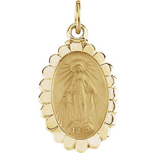 14K Pure Yellow Gold 17x11mm Miraculous Medal