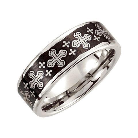 Cobalt Ring with Black Laser Engraved Cross Pattern