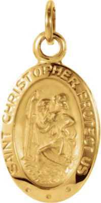 14K Yellow Gold 12.25x8.75mm Oval St. Christopher Medal