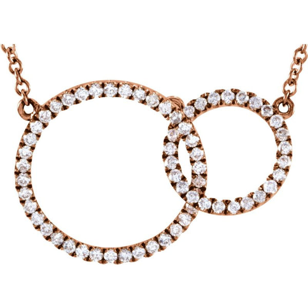 "14K Rose Gold Necklace 1/3 CTW Diamond Circle 18"" Length"