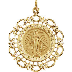 14K Pure Yellow Gold 20x18mm Round Miraculous Medal