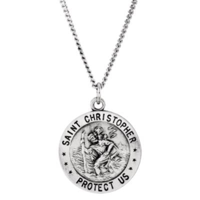 "Sterling Silver 18mm Round St. Christopher U.S. Marine Corps Medal 18"" Necklace"