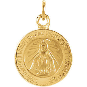 "14K Pure Yellow Gold 12mm Miraculous Medal (.5"")"