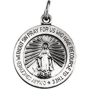 14K Pure White Gold 14.75mm Miraculous Medal
