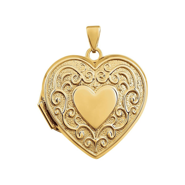 14k Solid Yellow Gold Heart Shaped Locket 21mm Size Polished Gold with Room for Photo