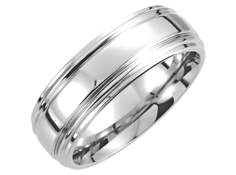Double Ridged Cobalt Ring / Wedding Band