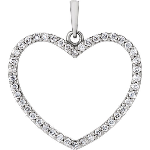 14K White Gold 1/3 CTW Diamond Heart Pendant