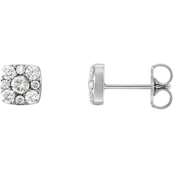 14K White Gold 1/2 (.50) CTW Classic Diamond Stud Cluster Earrings