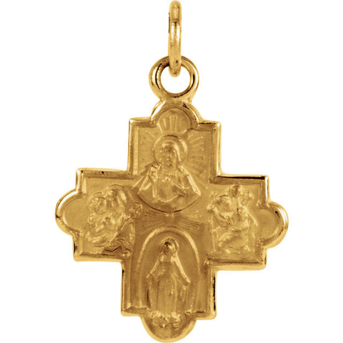 "14K Yellow Gold Four Way Cross Pendant, .5"" x .5"" (Sacred Heart of Jesus Medal, a Miraculous Medal, St. Joseph Medal and St. Christopher Medal)"
