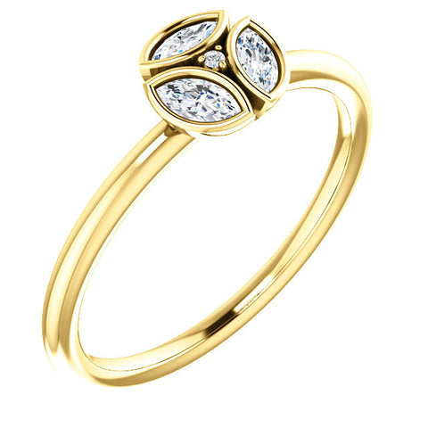 14K Yellow Gold 1/4 (.25) CTW Diamond Ring