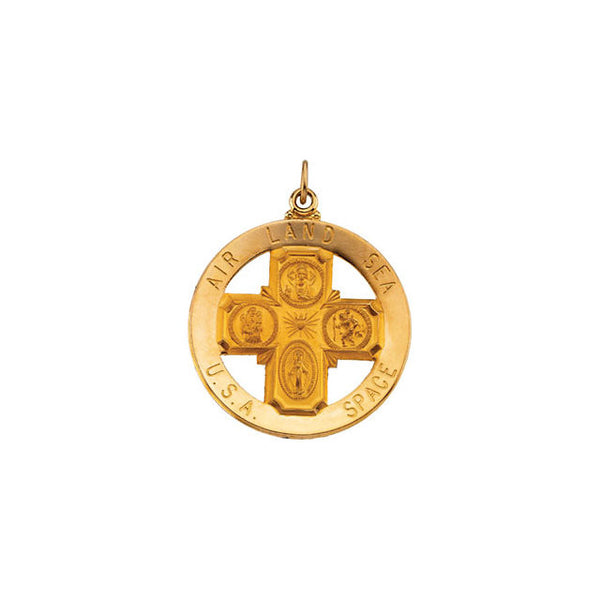 "14K Yellow 32.5mm St. Christopher Four-Way Medal (Over 1"" Wide)"