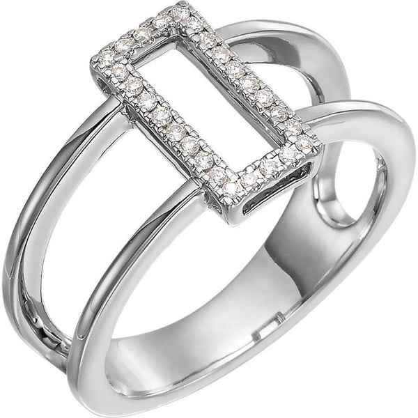 Geometric .10 Ctw Diamond Ring with Pure 14k White Gold