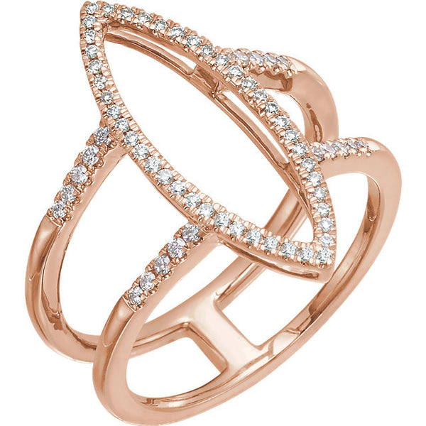 Geometric 14k Rose Gold Ring with 64 Diamonds! (.25 Ctw)