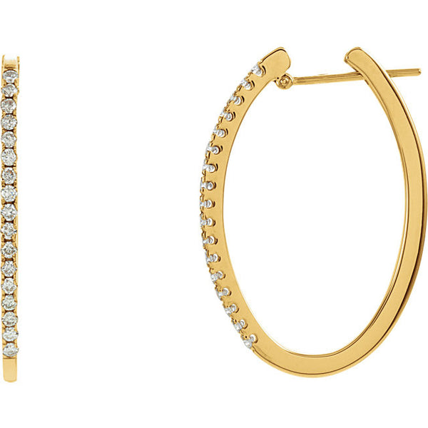 (0.50 Carat) Diamond & 14k Yellow Gold Hoop Earrings set with 34 Diamonds