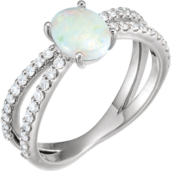 14K White Gold Genuine Opal and 3/8 CTW Diamond Ring