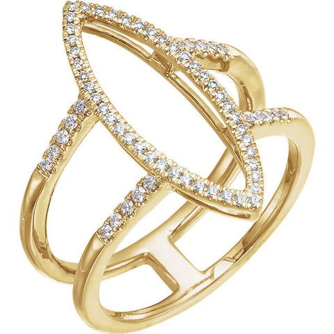Geometric 14k Yellow Gold Ring with 64 Diamonds! (.25 Ctw)