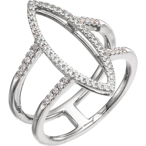 Geometric 14k White Gold Ring with 64 Diamonds! (.25 Ctw)