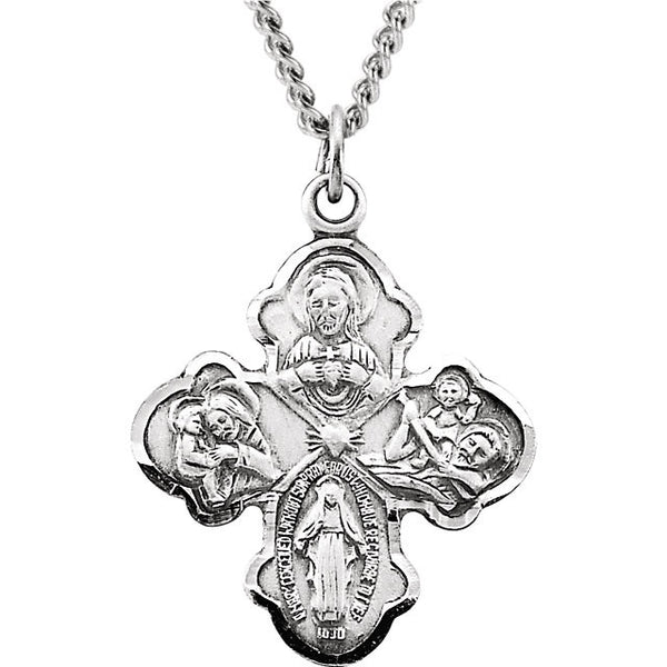 "Sterling Silver 21x17.25mm Four-Way Cross Medal 18"" Necklace"