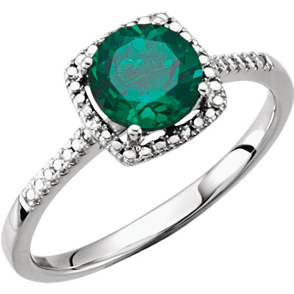 Emerald and Diamond May Birthstone Ring Set in Sterling Silver (Lab Grown)