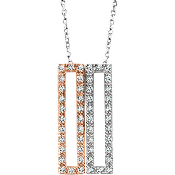 1/3 Ctw Geometric Diamond Rectangle Necklace with 14k White Gold and 14k Rose Gold