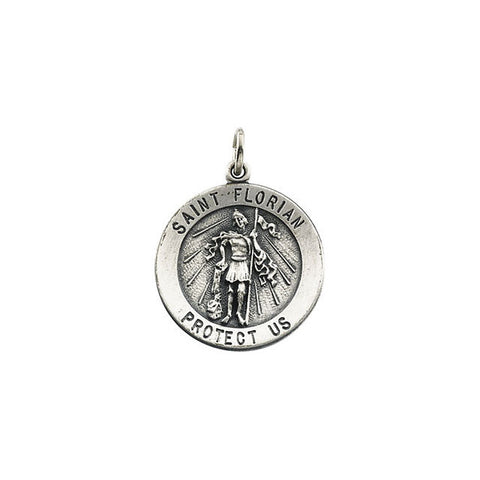 Pure Sterling Silver 22MM Round St. Florian Engraved Pendant with Chain