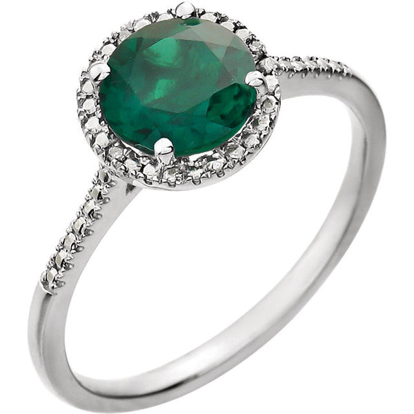 Round Cut Emerald and Diamond May Birthstone Ring Set in Sterling Silver (Lab Grown)