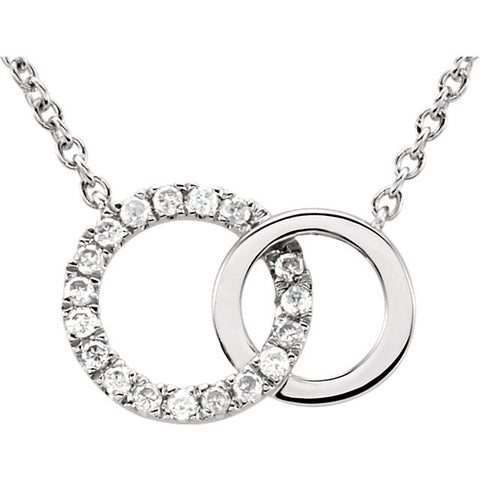 "Diamond and Pure 14k White Gold 18"" Necklace Double Circle (.06 Ctw)"