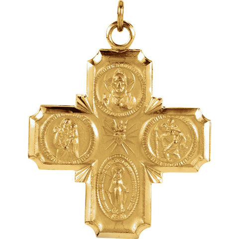 "14K Yellow Gold Four Way Cross Pendant, 1"" x 1"" (Sacred Heart of Jesus Medal, a Miraculous Medal, St. Joseph Medal and St. Christopher Medal)"