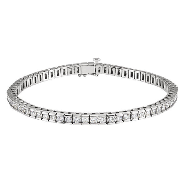 "(4 Carat) 14K White Gold Diamond Line Tennis Bracelet (Color: G, Clarity: SI) (7.25"")"