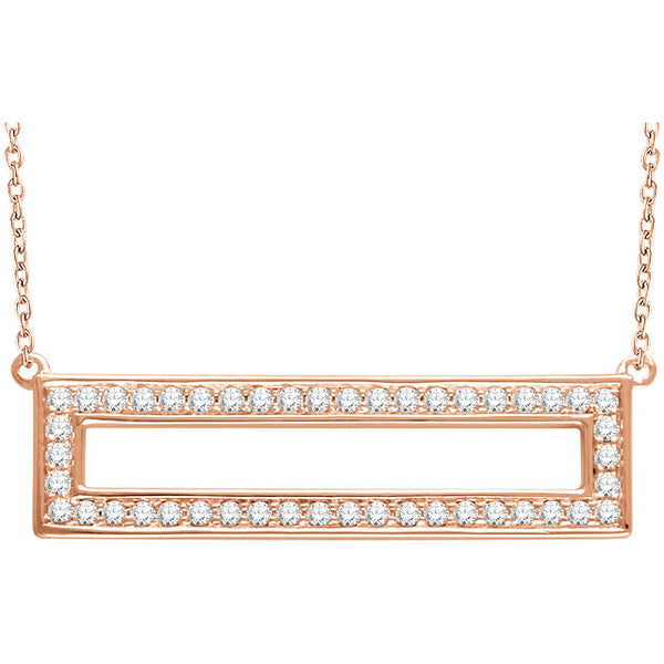 3/8 Ctw Diamond Rectangle 14k Rose Gold Necklace