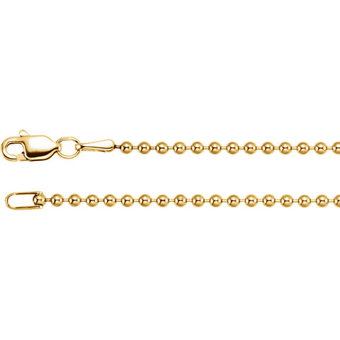 "14K Yellow Gold 1.8mm Hollow Bead 20"" Chain"