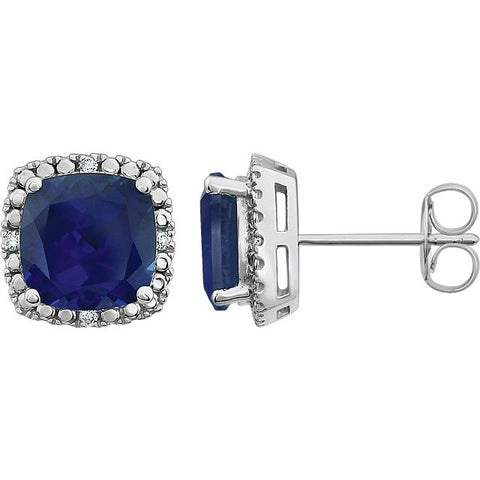 Large 8x8 mm Created Blue Sapphire Stud Earrings set in 14k White Gold and Diamonds