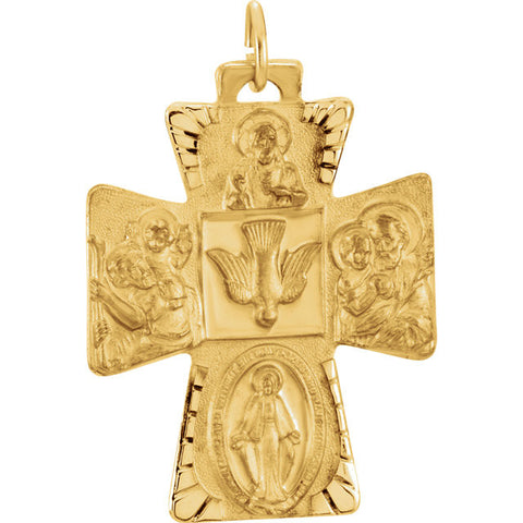 14K Yellow Gold Four Way Cross Pendant, 28mm x 23.5mm (Sacred Heart of Jesus Medal, a Miraculous Medal, St. Joseph Medal and St. Christopher Medal)