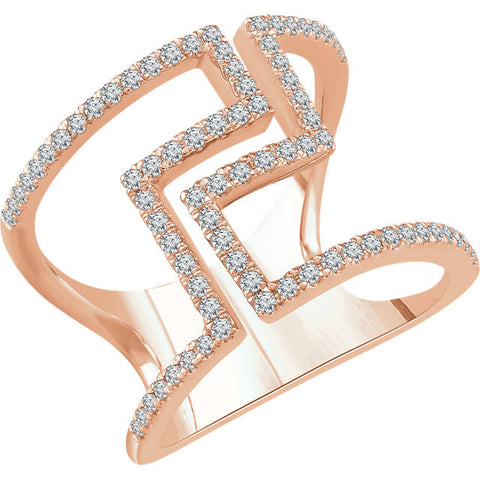 14K Rose Gold Negative Space Ring with 1/2 CTW (.5 ct) Diamonds