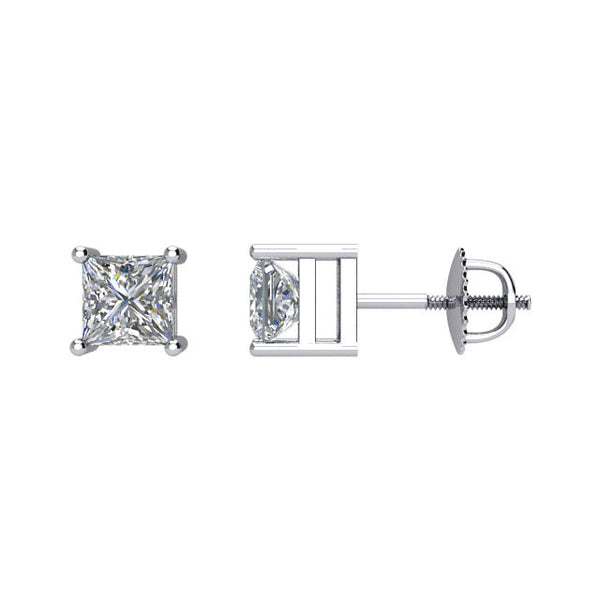 (0.75 Carat) Diamond Princess Cut Stud Earrings in 14K White Gold - Color: G, Clarity: I1