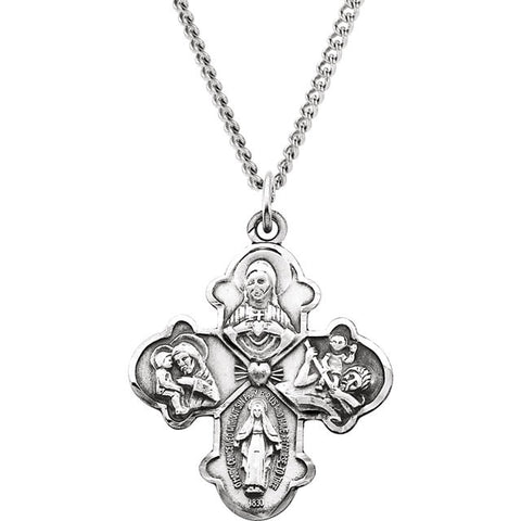 "Sterling Silver31x26.25mm 4-Way Cross 24"" Necklace"