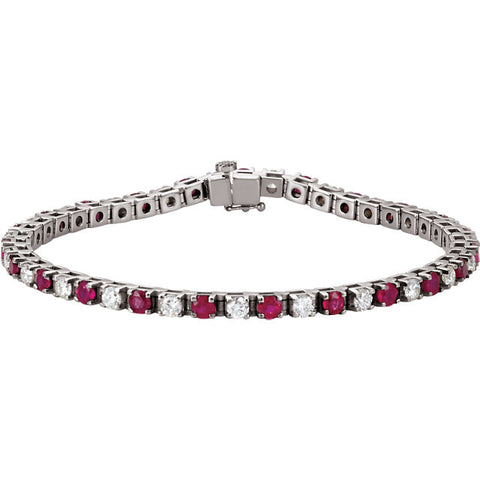 Ruby and Diamond 14k White Gold Tennis Line Bracelet - (2 and 3/8 Ctw Diamonds!)