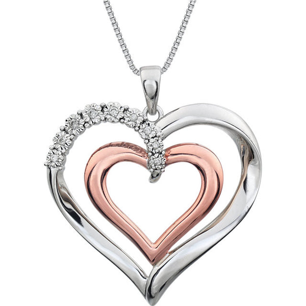 "14K Rose Gold-Plated Sterling Silver .06 CTW Diamond Heart 18"" Necklace"